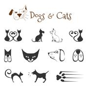 dogs and cats - stock illustration