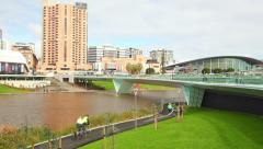 Riverbank precinct in Adelaide, South Australia Stock Footage