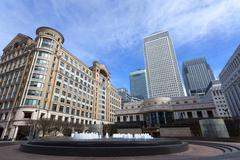 Cabot Square, Canary Wharf, Docklands, London, England Stock Photos
