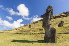 the quarry site for all moai statues on Easter Island, Chile - stock photo