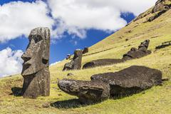 The quarry site for all moai statues on Easter Island, Chile Stock Photos