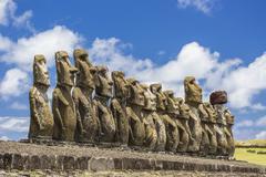 Fifteen moai at the ceremonial site of Ahu Tongariki - stock photo