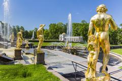 The Grand Cascade of Peterhof, Peter the Great's Palace, St. Petersburg, Russia Stock Photos