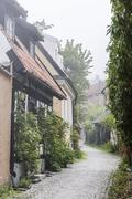 View of houses in the town of Visby, Gotland Island, Sweden, Scandinavia - stock photo