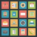 Office flat icons set Stock Illustration