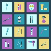 beauty salon flat icons set - stock illustration