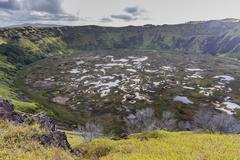 Rano Kau, Rapa Nui National Park, Easter Island (Isla de Pascua), Chile Stock Photos