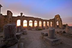 Excavated Roman City, Volubilis, Morocco Stock Photos
