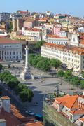 Aerial view of Rossio Square, Baixa, Lisbon, Portugal, Europe - stock photo