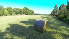 Aerial Green Fields with Straw Bales - stock footage