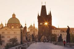 Charles Bridge at sunrise, Prague, Bohemia, Czech Republic Stock Photos