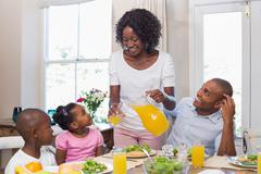 Happy family enjoying a healthy meal together - stock photo