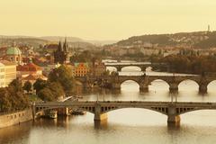 and Old Town Bridge Tower at sunset, Prague, Bohemia, Czech Republic - stock photo