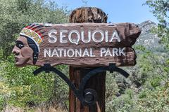 sequoia national park sign - stock photo