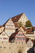 Half-timbered houses, Schwaebisch Hall, Hohenlohe, Baden Wurttemberg, Germany - stock photo