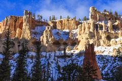 Snowy cliffs from Peekaboo Loop Trail, Bryce Canyon National Park, Utah, USA - stock photo