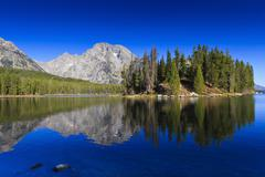 Reflections in Leigh Lake, Grand Teton National Park, Wyoming, USA Stock Photos