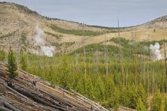 Midway Geyser Basin, Yellowstone National Park, Wyoming, USA - stock photo