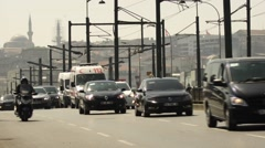 Traffic in Galata Bridge, Istanbul Stock Footage