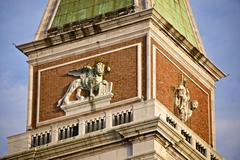 Campanile detail, Piazza San Marco, San Marco, Venice, Veneto, Italy Stock Photos
