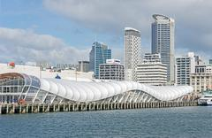 Auckland ferry terminal and skyline, Auckland, North Island, New Zealand - stock photo