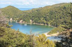 elevated view, Abel Tasman National Park, Nelson, South Island, New Zealand - stock photo