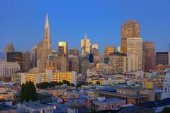 Downtown and TransAmerica Building, San Francisco, California, USA Stock Photos