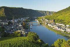 View of Cochem and Moselle River (Mosel), Rhineland-Palatinate, Germany, Europe Stock Photos