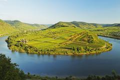 Bremm village and Moselle River (Mosel), Rhineland-Palatinate, Germany Stock Photos