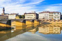 Ponte alle Grazie over the River Arno, Florence (Firenze), Tuscany, Italy Stock Photos