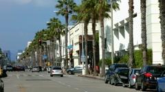 Wilshire Boulevard in Santa Monica, Los Angeles, California, BlackMagic Camera Stock Footage