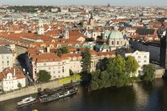Elevated view over the city of Prague, Czech Republic, Europe - stock photo