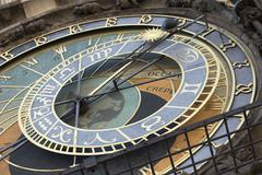 Astronomical clock, Old Town Hall, Prague, Czech Republic, Europe - stock photo