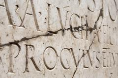 Roman lettering in Herculaneum, Campania, Italy - stock photo