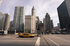 Wrigley Building by the Chicago River, Chicago, Illinois, USA - stock photo
