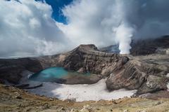 Steaming fumarole on the Gorely volcano, Kamchatka, Russia, Eurasia - stock photo