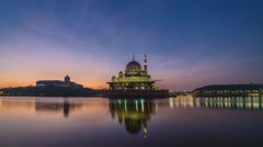 Putra Mosque, Colorful Sunrise Time lapse view Stock Footage
