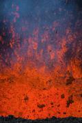 Active lava eruption on the Tolbachik volcano, Kamchatka, Russia, Eurasia - stock photo