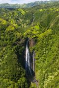 Aerial of a waterfall in the interior of Kauai, Hawaii, United States of America Kuvituskuvat