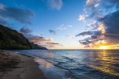 Sunset on the Napali coast, Kauai, Hawaii,United States of America, Pacific - stock photo