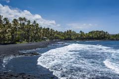 Punaluu Black Sand Beach on Big Island, Hawaii, United States of America Stock Photos