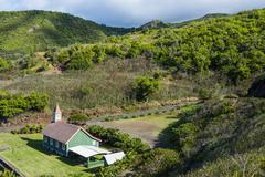 Church in Kahakuloa, western Maui, Hawaii, United States of America, Pacific Stock Photos