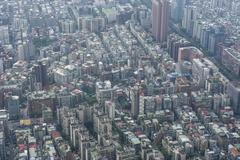 Stock Photo of View over Taipei from the 101 Tower, Taipei, Taiwan, Asia