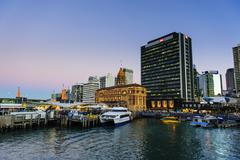 Skyline of Auckland, North Island, New Zealand, Pacific Stock Photos