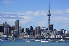 Skyline of Auckland, North Island, New Zealand, Pacific Stock Photos