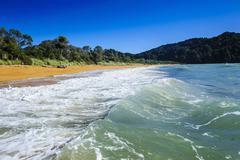 Long sandy beach, Abel Tasman National Park, South Island, New Zealand, Pacific - stock photo