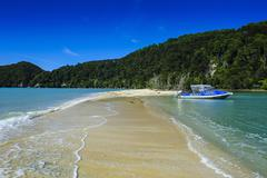 Sand split in the Abel Tasman National Park, South Island, New Zealand, Pacific - stock photo
