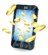 Gold coins flying out of smart mobile phone - stock photo
