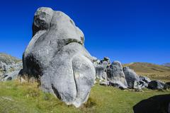 Limestone outcrops on Castle Hill, Canterbury, South Island, New Zealand Stock Photos
