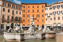 Fountain of Neptune, Piazza Navona, Rome, Lazio, Italy, Europe - stock photo